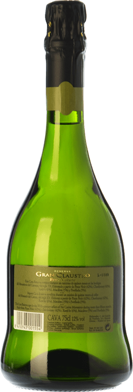 13,95 € Free Shipping | White sparkling Perelada Gran Claustro Brut Nature Reserva D.O. Cava Catalonia Spain Pinot Black, Chardonnay, Parellada Bottle 75 cl. | Thousands of wine lovers trust us to get the best price guarantee, free shipping always and hassle-free shopping and returns.
