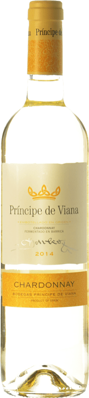 6,95 € Free Shipping | White wine Príncipe de Viana Barrica Crianza D.O. Navarra Navarre Spain Chardonnay Bottle 75 cl