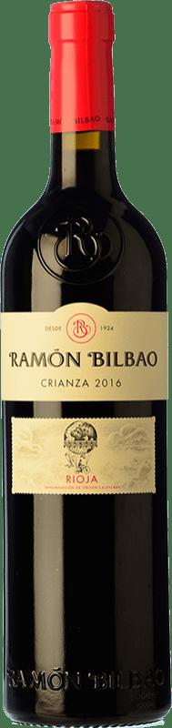 9,95 € Spedizione Gratuita | Vino rosso Ramón Bilbao Crianza D.O.Ca. Rioja La Rioja Spagna Tempranillo Bottiglia 75 cl