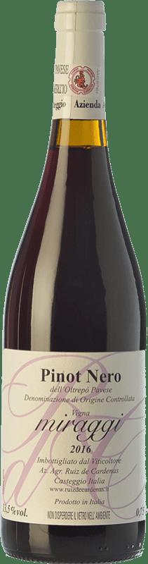 11,95 € Free Shipping | Red wine Ruiz de Cardenas Miraggi I.G.T. Provincia di Pavia Lombardia Italy Pinot Black Bottle 75 cl