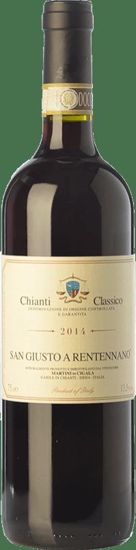 14,95 € Envío gratis | Vino tinto San Giusto a Rentennano D.O.C.G. Chianti Classico Toscana Italia Sangiovese, Canaiolo Botella 75 cl