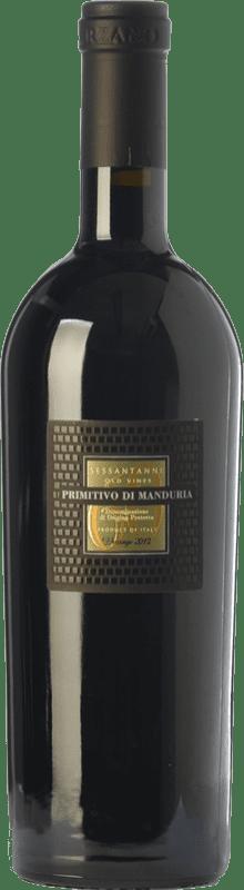 28,95 € Envoi gratuit | Vin rouge San Marzano Sessantanni D.O.C. Primitivo di Manduria Pouilles Italie Primitivo Bouteille 75 cl