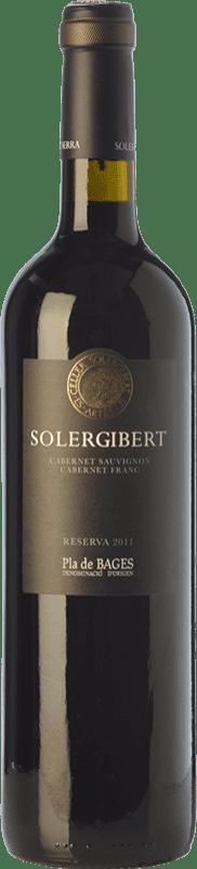 11,95 € Envío gratis | Vino tinto Solergibert Cabernet Reserva D.O. Pla de Bages Cataluña España Cabernet Sauvignon, Cabernet Franc Botella 75 cl