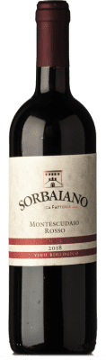 13,95 € Free Shipping | Red wine Sorbaiano Rosso D.O.C. Montescudaio Tuscany Italy Sangiovese, Montepulciano, Malvasia Black Bottle 75 cl