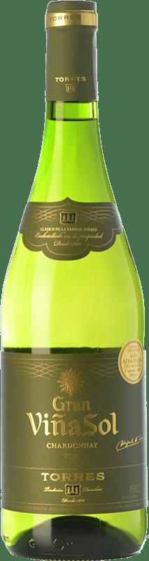 9,95 € Envío gratis | Vino blanco Torres Gran Viña Sol Crianza D.O. Penedès Cataluña España Chardonnay, Parellada Botella 75 cl