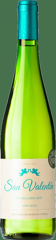 6,95 € Free Shipping | White wine Torres San Valentín D.O. Catalunya Catalonia Spain Parellada Bottle 75 cl