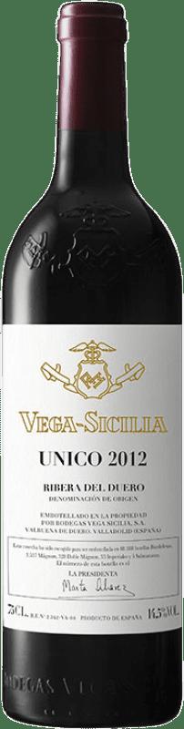 355,95 € Envío gratis | Vino tinto Vega Sicilia Único Gran Reserva D.O. Ribera del Duero Castilla y León España Tempranillo, Cabernet Sauvignon Botella 75 cl
