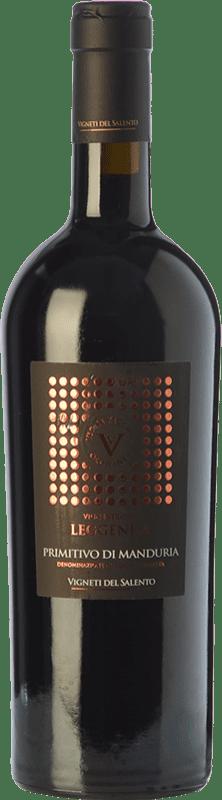 33,95 € Envío gratis | Vino tinto Vigneti del Salento Leggenda D.O.C. Primitivo di Manduria Puglia Italia Primitivo Botella 75 cl