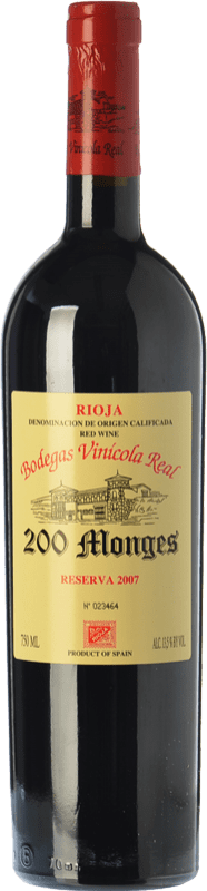 37,95 € Envoi gratuit | Vin rouge Vinícola Real 200 Monges Reserva D.O.Ca. Rioja La Rioja Espagne Tempranillo, Graciano, Mazuelo Bouteille 75 cl
