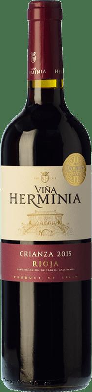 5,95 € Envoi gratuit | Vin rouge Viña Herminia Crianza D.O.Ca. Rioja La Rioja Espagne Tempranillo, Grenache Bouteille 75 cl