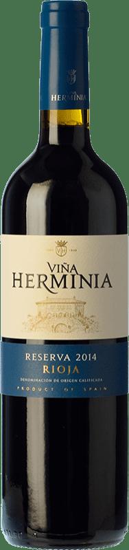 11,95 € Envío gratis | Vino tinto Viña Herminia Reserva D.O.Ca. Rioja La Rioja España Tempranillo, Garnacha, Graciano Botella 75 cl