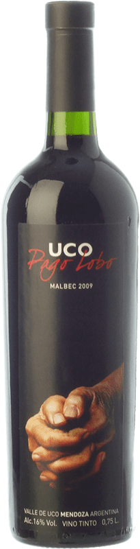 32,95 € Free Shipping | Red wine Valle de Uco Pago Lobo Crianza I.G. Valle de Uco Uco Valley Argentina Malbec Bottle 75 cl
