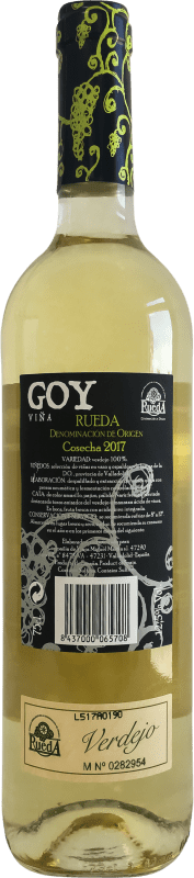 4,95 € Free Shipping | White wine Thesaurus Viña Goy Joven D.O. Rueda Castilla y León Spain Verdejo Bottle 75 cl | Thousands of wine lovers trust us to get the best price guarantee, free shipping always and hassle-free shopping and returns.