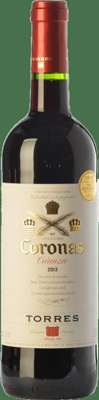 6,95 € Envío gratis | Vino tinto Torres Coronas Crianza D.O. Catalunya Cataluña España Tempranillo, Cabernet Sauvignon Botella 75 cl