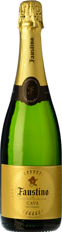 6,95 € Envío gratis | Espumoso blanco Faustino Extra Brut Reserva D.O. Cava Cataluña España Macabeo, Chardonnay Botella 75 cl