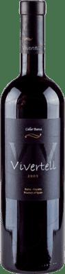 8,95 € Free Shipping | Red wine Batea Vivertell Negre Crianza D.O. Terra Alta Catalonia Spain Tempranillo, Syrah, Grenache, Cabernet Sauvignon Bottle 75 cl