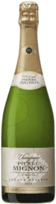 28,95 € Free Shipping | White sparkling Champagne Pierre Mignon Brut Gran Reserva A.O.C. Champagne France Pinot Black, Chardonnay, Pinot Meunier Bottle 75 cl | Thousands of wine lovers trust us to get the best price guarantee, free shipping always and hassle-free shopping and returns.