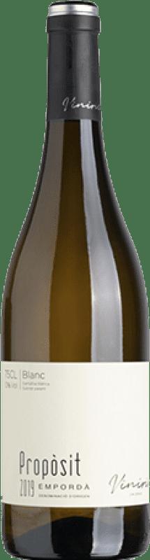 9,95 € Envío gratis | Vino blanco Viníric Propòsit Blanc D.O. Empordà Cataluña España Garnacha Blanca, Moscatel, Macabeo Botella 75 cl