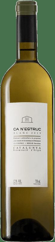 4,95 € Envío gratis | Vino blanco Ca N'Estruc Blanc D.O. Catalunya Cataluña España Garnacha Blanca, Moscatel, Macabeo, Xarel·lo Botella 75 cl