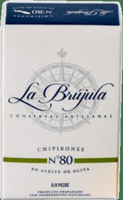 6,95 € Envío gratis | Conservas de Marisco La Brújula Chipirones en Aceite de Oliva España 6/8 Piezas
