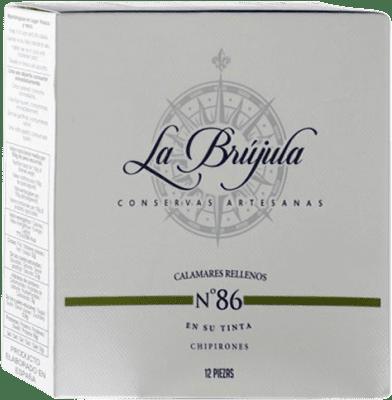 13,95 € Envío gratis | Conservas de Marisco La Brújula Chipirones en su Tinta España 12 Piezas