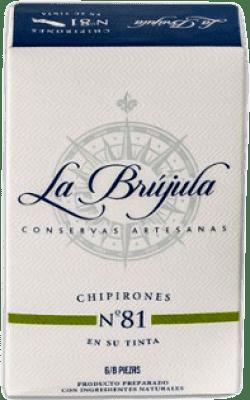 6,95 € Envío gratis | Conservas de Marisco La Brújula Chipirones en su Tinta España 6/8 Piezas