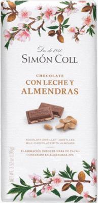 5,95 € Envoi gratuit | Chocolates y Bombones Simón Coll Chocolate con Leche y Almendras Espagne