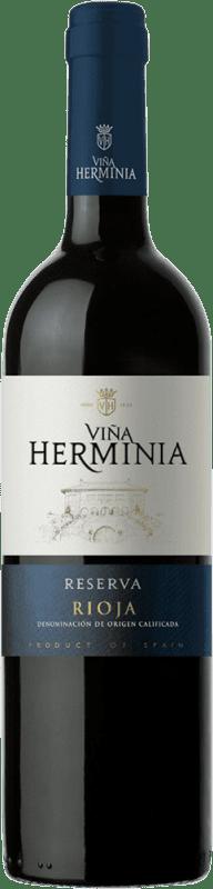 9,95 € Envío gratis | Vino tinto Viña Herminia Reserva D.O.Ca. Rioja España Tempranillo, Garnacha, Graciano Botella 75 cl