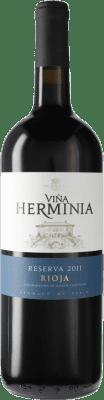 16,95 € Envío gratis | Vino tinto Viña Herminia Reserva D.O.Ca. Rioja España Tempranillo, Garnacha, Graciano Botella Mágnum 1,5 L