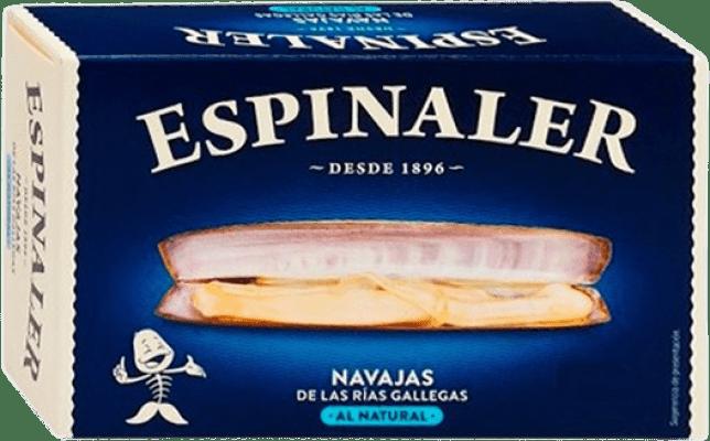 8,95 € Envío gratis | Conservas de Marisco Espinaler Navajas al Natural España 6/8 Piezas