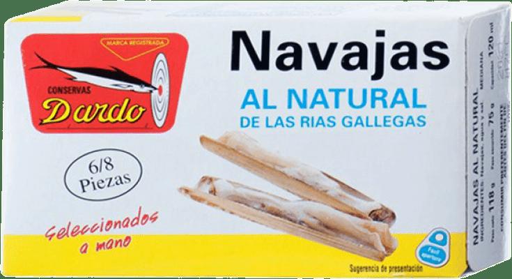 5,95 € Envío gratis | Conservas de Marisco Dardo Navajas al Natural España 6/8 Piezas