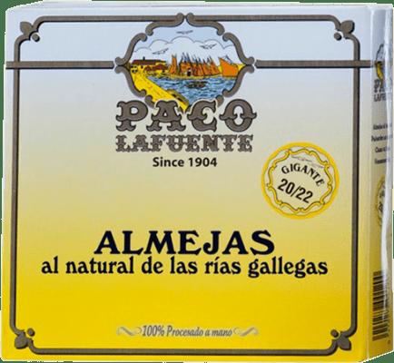 132,95 € Envío gratis | Conservas de Marisco Conservera Gallega Paco Lafuente Almejas al Natural Galicia España 20/25 Piezas