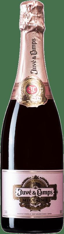 33,95 € Free Shipping | Rosé sparkling Juvé y Camps Rosé Milesimé Brut D.O. Cava Spain Chardonnay Bottle 75 cl