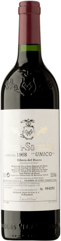1 864,95 € Free Shipping | Red wine Vega Sicilia Único Gran Reserva 1968 D.O. Ribera del Duero Castilla y León Spain Tempranillo, Merlot, Cabernet Sauvignon Bottle 75 cl