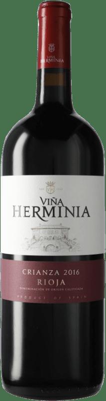 9,95 € Envoi gratuit | Vin rouge Viña Herminia Viña Herminia Crianza D.O.Ca. Rioja Espagne Bouteille Magnum 1,5 L